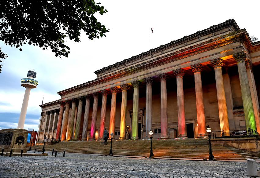 St Georges Hall Liverpool lit up in rainbow colours to celebrate the Pride Festival this weekend